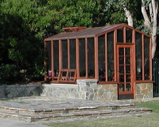 Custom GreenHouse - Santa Barbara Greenhouse, custom installation over stone foundation. (Cost for unassembled greenhouse only)