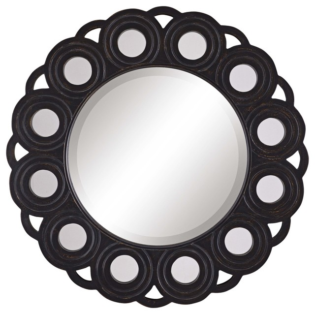 Circle Blossom Aged Black Wall Mirror contemporary mirrors