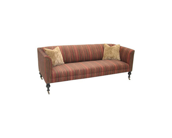 """Old Hickory Tannery - Old Hickory Tannery """"Nocona Terra-Cotta"""" Sofa - Contemporary sofa features clean, simple lines made impressive by muted stripes in warm earth tones, nailhead trim, and turned feet with brass cup casters. Hardwood frame with coffee-bean finish. Cotton/acrylic/nylon upholstery. Comes with two 18""""Sq...."""