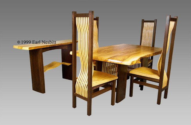 Natural Edge Ash, Walnut Conference Table, Chairs dining-tables