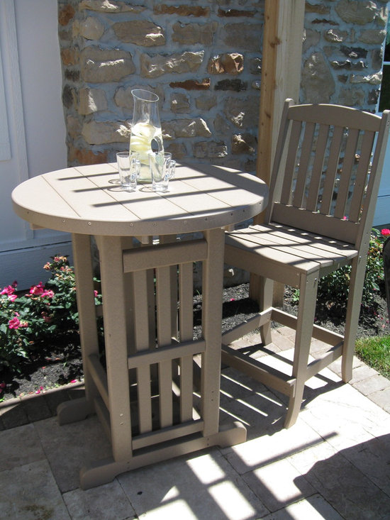 """Parade of Homes 2012 - 40""""H x 33"""" Round Bar Table and two Bar Side Chairs made from recycled milk jugs (aka poly lumber).  Maintenance-free, no need for painting, staining or scraping - just an occasional power wash.  Available in a wide variety of colors.  Photo: Rod Geitgey"""