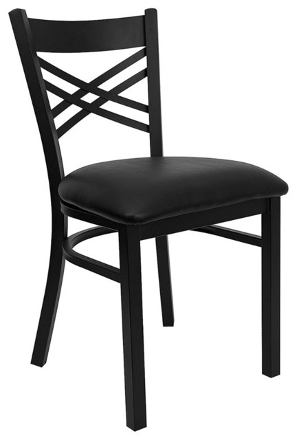 Hercules Series Black ''x'' Back Metal Restaurant Chair with Black Vinyl Seat contemporary-dining-chairs