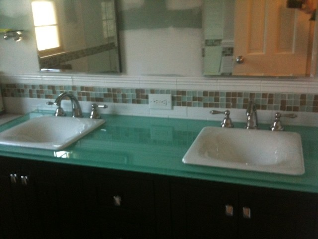 Glass Vanity Tops For Bathrooms : Glass counter top traditional vanity tops and side