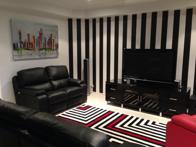 Black And White Striped Wallpaper Brisbane Contemporary Living Room Brisbane By Wow