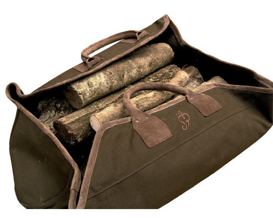 Log Sack - Outwardly, it is strikingly elegant and provides a smart way of transporting logs from the garden into the house. On the inside, its practicality is remarkable. A thick lining of rubber keeps the inside clean, even if the logs are damp.