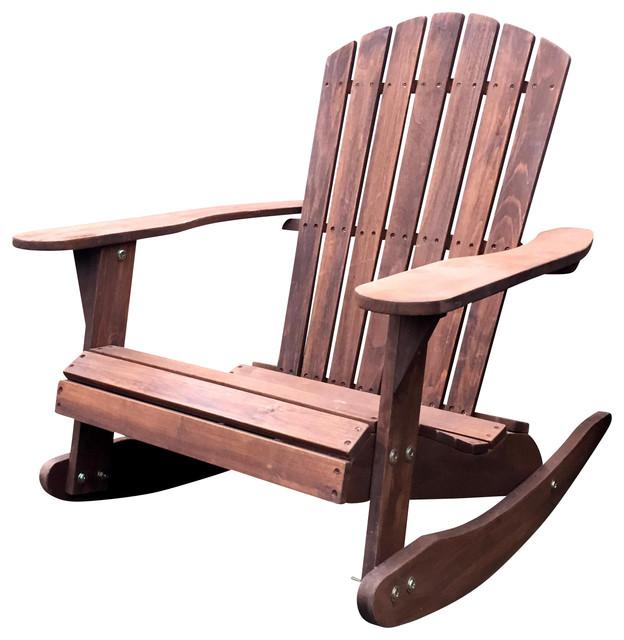 Pelican Hill Wood Adirondack Patio Rocking Chair Dark