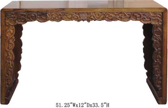 Double Sides Dragon Carving Chinese Longevity Altar Console Table asian-side-tables-and-end-tables