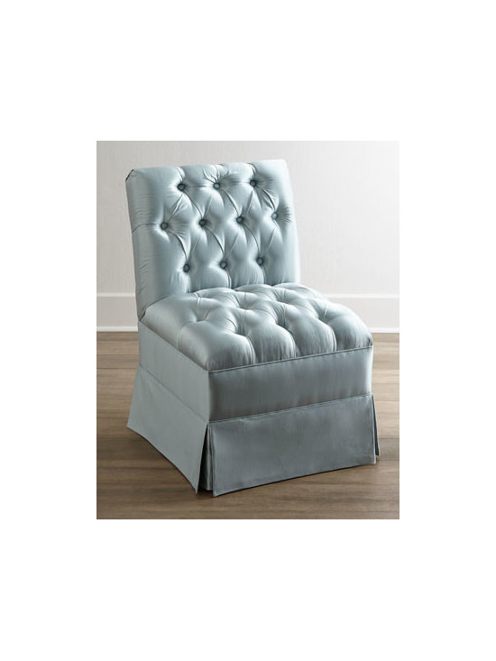 Horchow - Clarice Chair - Designed to coordinate with the Clarice banquette or be used as an elegant stand-alone piece, this chair features box-pleated skirting, button-tufted back and seat, and softly elegant upholstery that has a bit of a sheen that adds to the glamour. Solid...