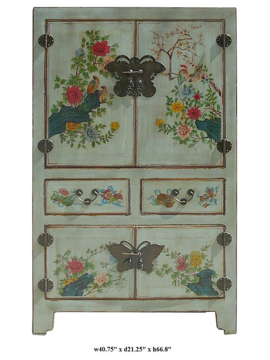 Chinese Hand Painted Birds & Flowers Graphic Wooden Cabinet / Armoire - You are looking at a elegant Chinese hand painted birds & flowers graphic wooden cabinet.
