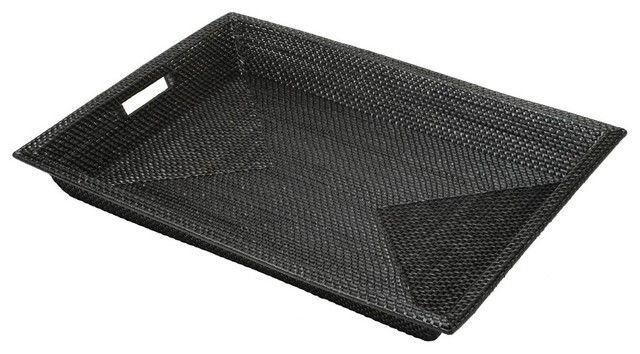 Extra Large Rectangular Rimmed Serving Tray In Black