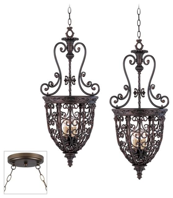 Open Scroll Foyer Chandelier : Traditional open scroll cage bronze double swag chandelier