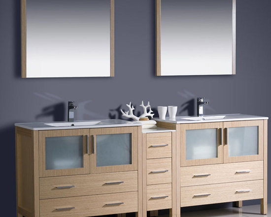 Fresca - Fresca Torino 84 Light Oak Double Sink Vanity w/ Side Cabinet & Sinks - Create a 'his and hers' look to your bathroom with the Torino 84 vanity from Fresca. Providing a highly practical yet stylish storage solution for beauty products and bathroom linen, this vanity with side cabinet features a Light Oak finish and frosted glass panels. Robust and durable in construction, this vanity comes complete with the ceramic integrated sinks, which provide a neat finish. Torino Bathroom Vanity Details:   Dimensions: Vanity: 83 1/2W x 18 1/8D x 33 3/4H, Side Cabinet: W 12 x D 17.75 x H 31.63 Material: Plywood with Veneer, integrated ceramic sinks Finish: Light Oak Please note: faucets not included