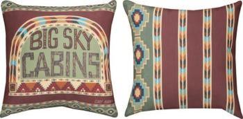 Pair of 'Big Sky Cabins' Southwestern Reversible Throw Pillows contemporary-decorative-pillows