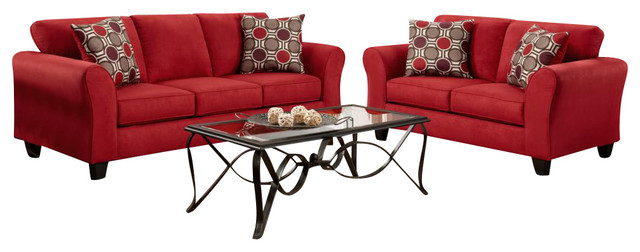 Chelsea Home Lehigh 3-Piece Living Room Set in Patriot Red traditional-sectional-sofas