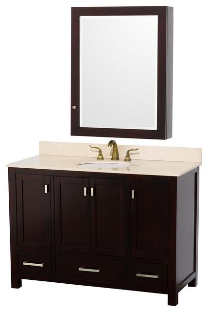 Abingdon 48in. Bathroom Vanity Set w/ Medicine Cabinet in Espresso/Ivory modern-bathroom-vanities-and-sink-consoles