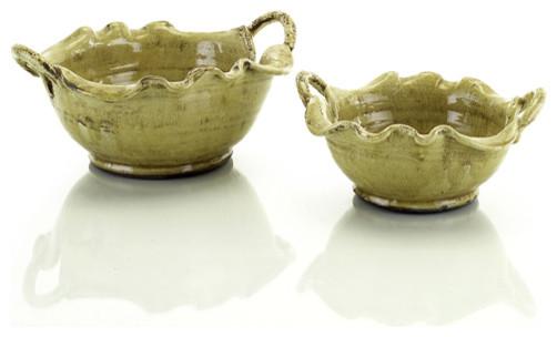 "John Richard 7x14.5""Dia Mustard Glazed Scalloped Bowl contemporary-home-decor"