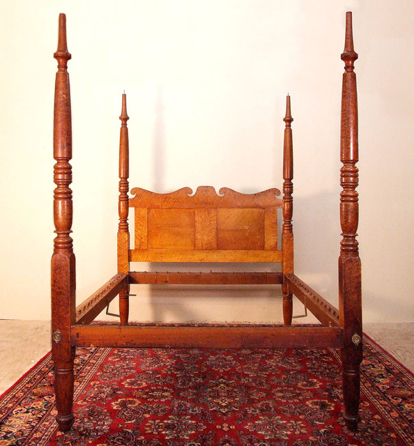 Sheraton Tall Post Birdseye Maple Antique Bed traditional-beds
