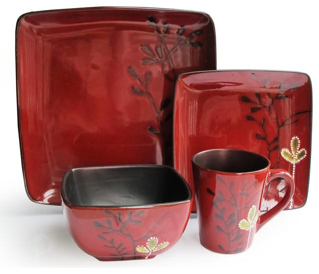 Elise Red 16 Piece Dinnerware Set - Contemporary - Dinnerware Sets ...