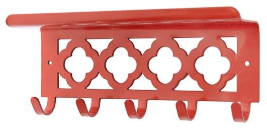 Hook Your Shelf Up, Red contemporary-hooks-and-hangers