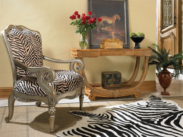 AICO Furniture - Trevi Wood Trim Fabric Chair - 63834-LEOPD-05 transitional-armchairs-and-accent-chairs