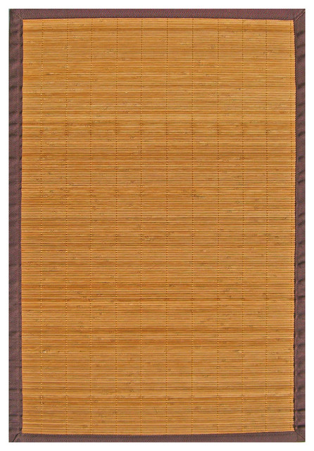 Natural Bamboo Rug with Brown Border (6' x 9') contemporary-rugs
