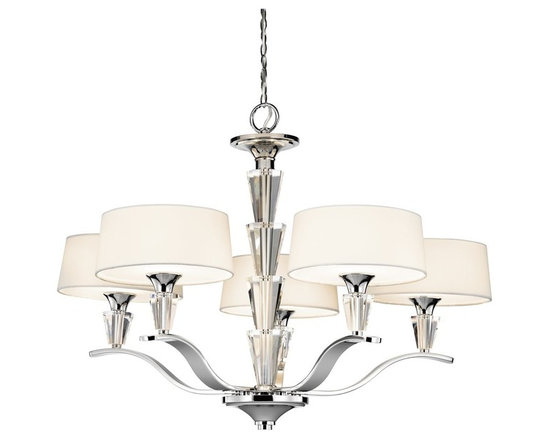 KICHLER - Crystal Persuasion Transitional Chandelier - Vintage crystal perfume bottles are the inspiration for the striking center column of this 5 light chandelier from the Crystal Persuasion Collection. Octagonal shapes stack high and accent each white fabric shade. Etched glass diffusers soften the light.