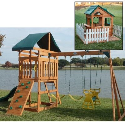 Swing Town Phoenix Swing Set with Mayfield Cottage Playhouse Set modern-kids-playsets-and-swing-sets