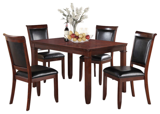 Standard furniture dallas 5 piece dining room set in medium brown cherry traditional dining Dining room furniture dallas