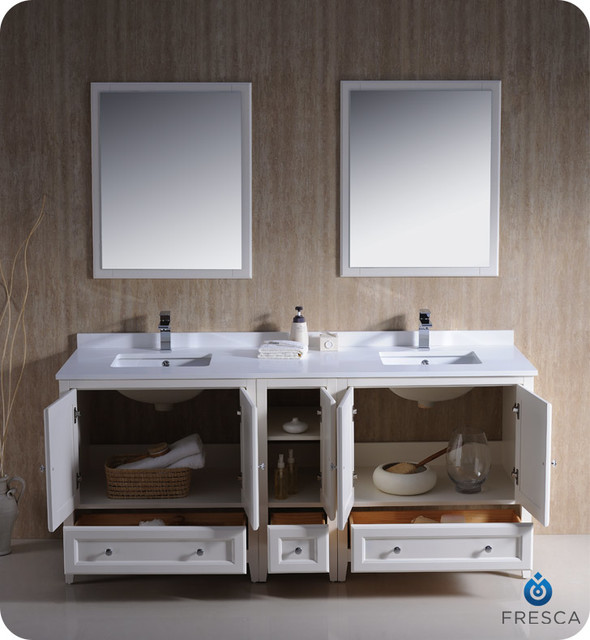 "72"" Oxford Double Vanity - White (FVN20-301230AW) modern"