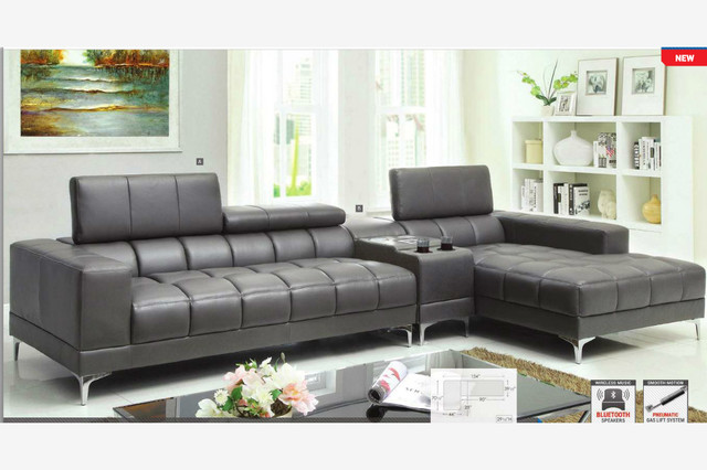 Modern Gray Leather Sectional Sofa Chaise Console