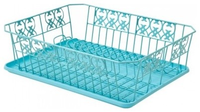 Prettiest Metal Dish Drainer Turquoise Contemporary dish