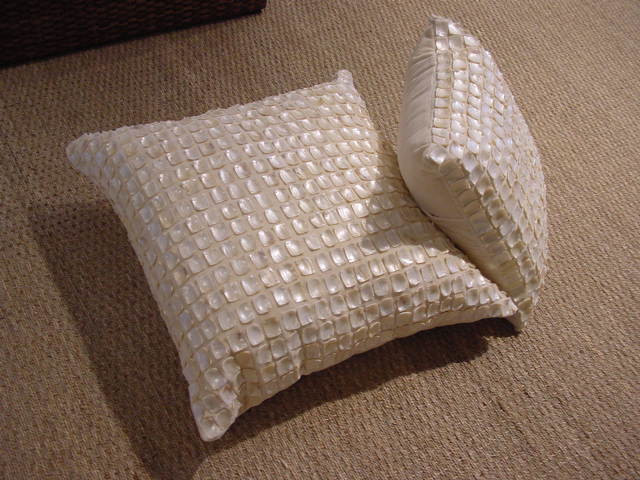 Decorative Pillow With Pearls : Mother of Pearl Pillow