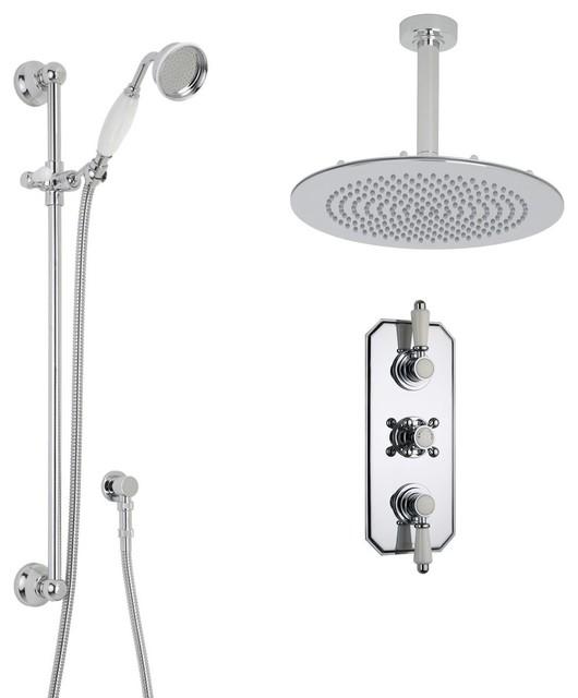 "Victorian Chrome & Ceramic Shower System Set - 12"" Rain Ceiling Head & Handspray traditional-showerheads-and-body-sprays"