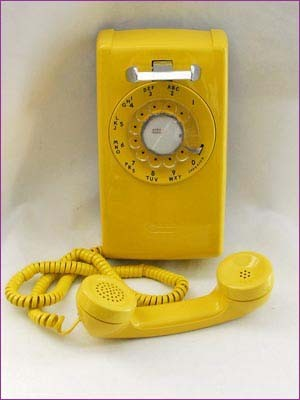 1960s Western Electric Yellow 554 Rotary Wall Telephone artwork