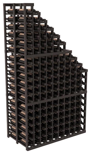 Double Deep Waterfall Display in Redwood, Black + Satin Finish contemporary-wine-racks