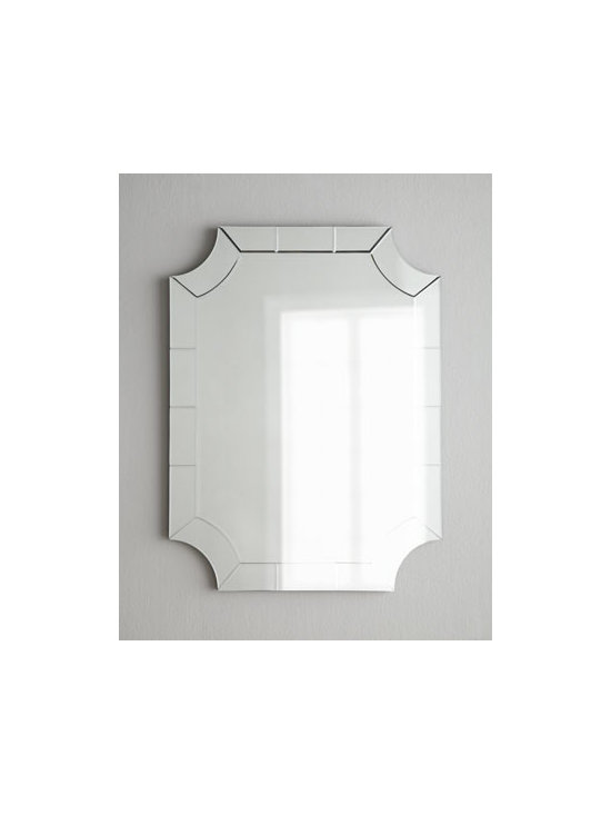 """Horchow - Mirror-Framed Mirror - A cut-corner design and a frame pieced together of mirrored tiles add drama to this otherwise simple mirror. Handcrafted of wood and mirrored glass. D-ring for hanging. 30""""W x 1""""D x 40""""T. Imported. Boxed weight, approximately 39 lbs. Please note...."""