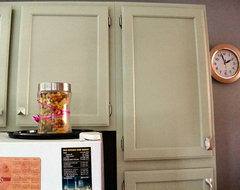 Kitchen cabinets- leave honey oak or paint white? Mocked ...