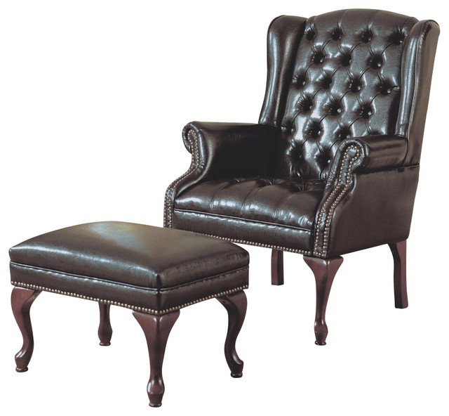 Monarch Specialties 8090 Wing Chair And Ottoman In Dark Brown Leather Tradi