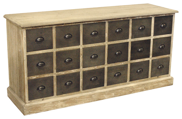 Rustic Lodge Reclaimed Pine Chunky Wood 18 Drawer Sideboard - Transitional - Storage Cabinets ...