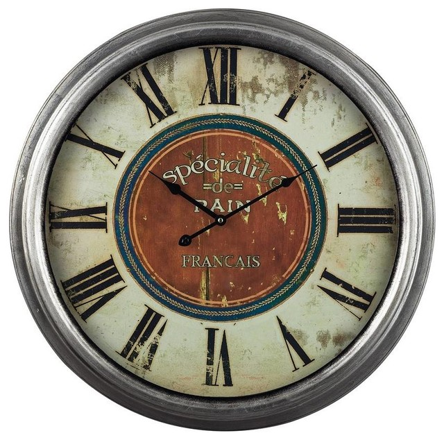 Sterling industries specialite 24quot round wall clock in red for Red and black wall clock