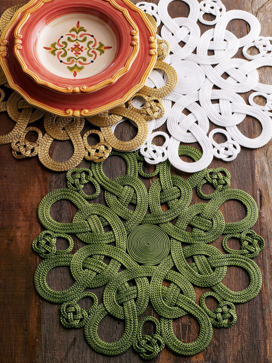 """Horchow - Passementerie Placemats - GREEN - Passementerie PlacematsDetailsThe elaborate braiding art of passementerie is exemplified in these placemats by Julian Mejia Design. Handcrafted of nylon with a matte finish. In Green White or Gold; select color when ordering. 16""""Dia.Imported."""