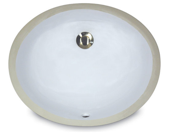 """UM-13x10-W - 13"""" x 10"""" Undermount Oval Ceramic Vanity Sink with Overflow. Available in White or Bisque."""