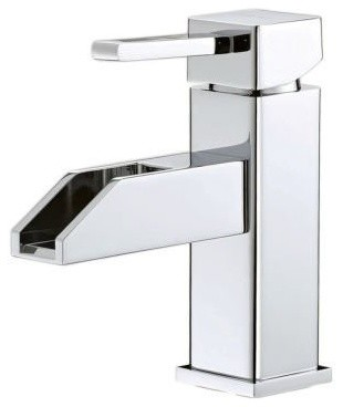 Single Hole Mount Lavatory Faucet, Modern Square Style, Waterfall Spout, Brush N contemporary-bathroom-faucets