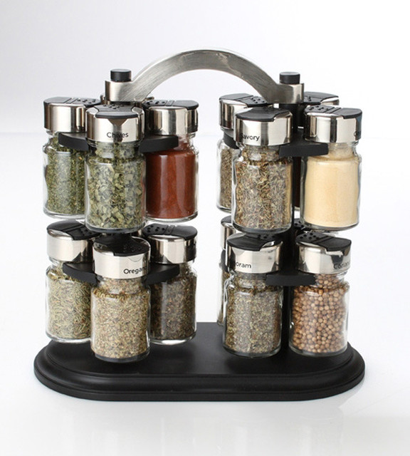 Olde Thompson 16 Jar Twin Carousel Spice Rack - Contemporary - Food Containers And Storage - by ...