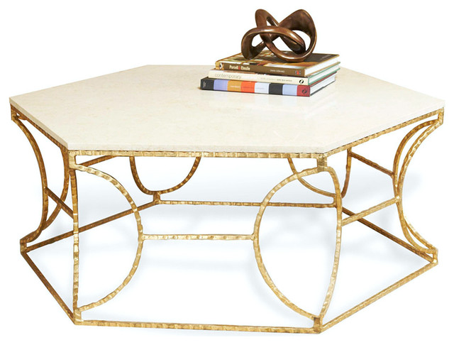 Roja Hollywood Antique Gold Leaf Cream Marble Hexagonal Coffee Table Transitional Coffee