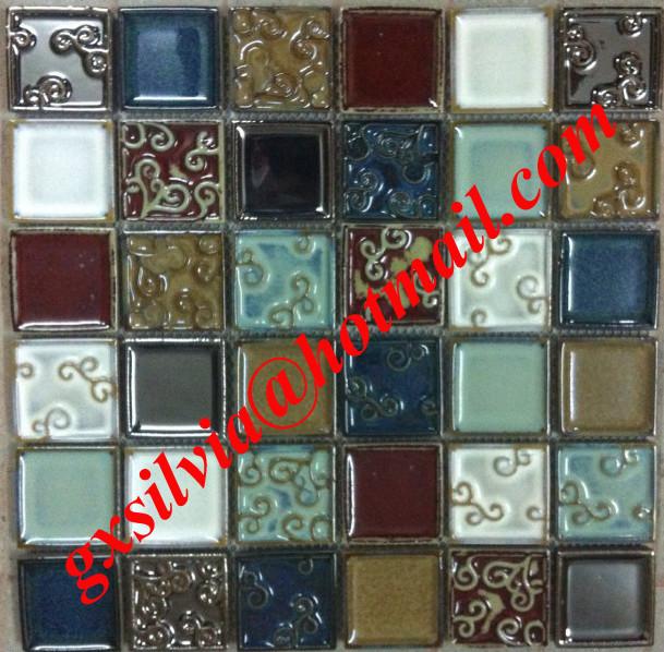 Crackled glazed mosaic mediterranean-tile