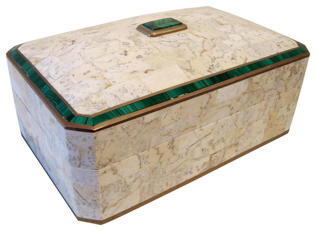 1970s Maitland Smith Marble and Malachite Box traditional-decorative-boxes