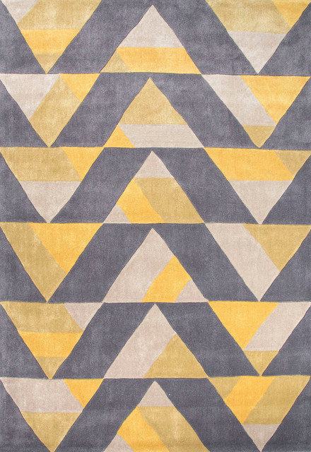 Hand tufted geometric pattern polyester yellow gray area for Geometric print area rugs