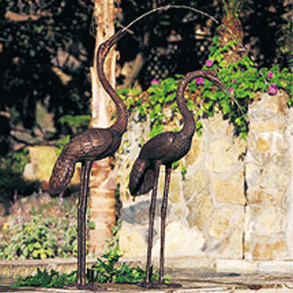 Crane Pair Statue traditional garden sculptures