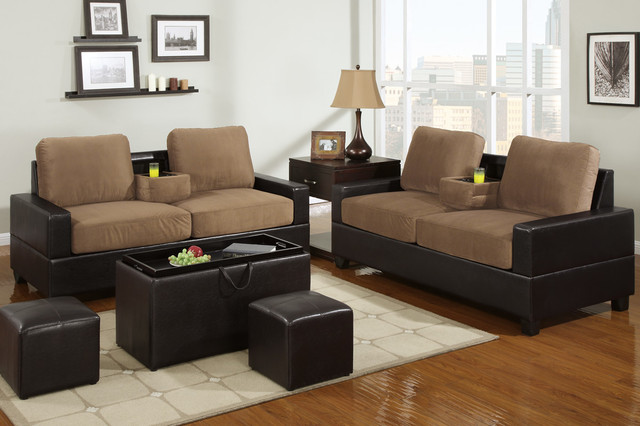 saddle microfiber leather sofa couch loveseat center console cup hold contemporary sofas. Black Bedroom Furniture Sets. Home Design Ideas